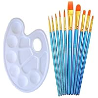 Artist Paint Brushes Set with Paint Trays Palette, ANNABOOM 10 Pieces Round Pointed Tip Nylon Hair Paintbrush for Watercolor Oil Acrylic Painting Students Kids Beginners