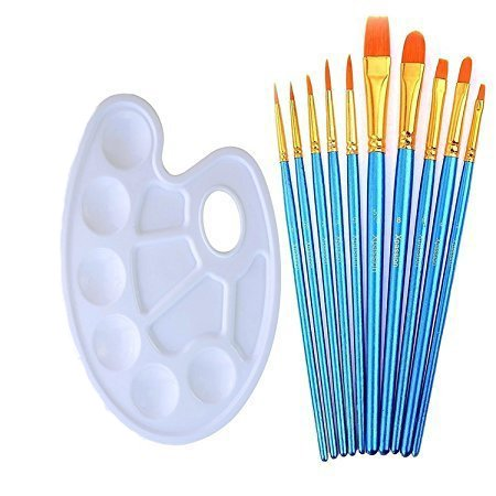 ANNABOOM 10 Pieces Round Pointed Tip Nylon Hair Paintbrush for Watercolor Oil Acrylic Painting Students Kids Beginners Artist Paint Brushes Set with Paint Trays Palette