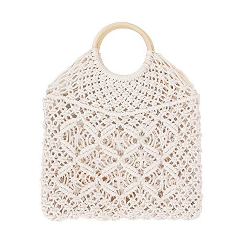 (CHIC DIARY Hand-woven Straw Hobo Bag for Women Girls Fishing Net Handbag Summer Beach Shopping Shoulder Bags (White-Round Handle))