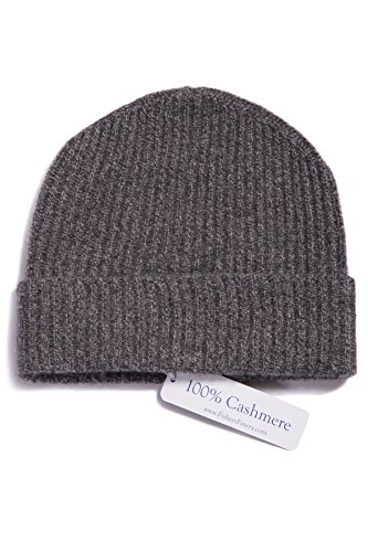 Fishers Finery - Ribbed Hat - 100% Pure Cashmere (Heather Gray) (Cashmere Hat)