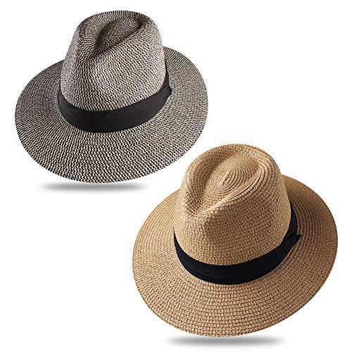 Panama Roll up Hat Fedora Beach Sun Hat UPF52+ Braid Straw Short Brim Jazz Panama Cap for Women Men ()