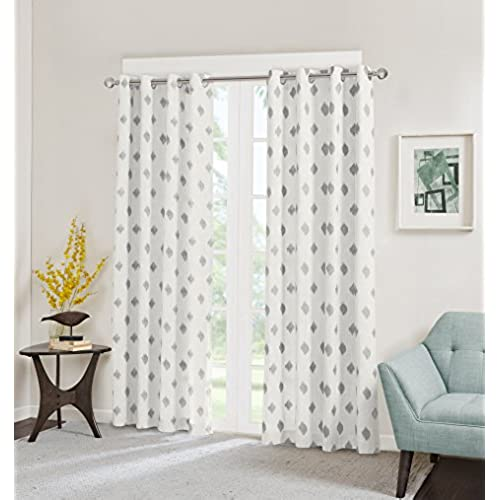 INKIVY Ory Metallic Ikat Printed Window Curtain Silver 84 Panel