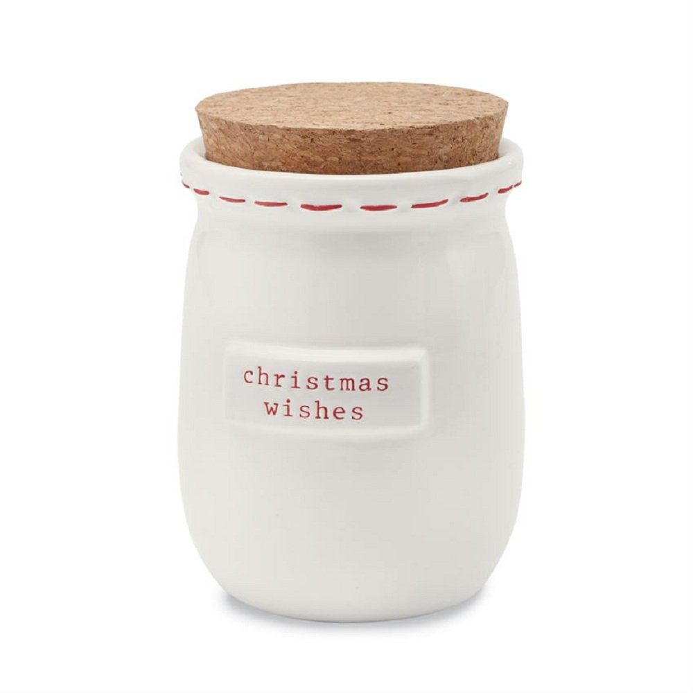 White ceramic Christmas wishes and blessing jar