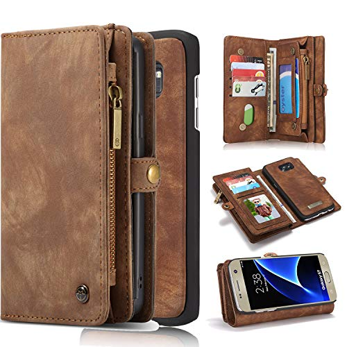 Pocket Pc Leather - Harsel Galaxy S7 Case, 11 Card Slot [Magnetic Closure] Detachable Leather Wallet Purse Case with Zipper Pocket Removable Protective Hard PC Cover for Galaxy S7 (Brown)
