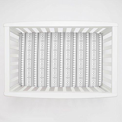 Carousel Designs Gray Aztec Stripe Mini Crib Sheet 1-Inch-4-Inch Depth - Organic 100% Cotton Fitted Mini Crib Sheet - Made in the USA by Carousel Designs