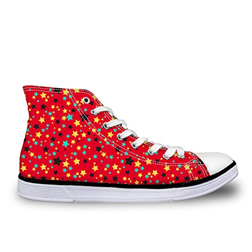 Bigcardesigns Cute Stats Casual High Top Canvas Sneakers Skate Zapatos For Girls Stars Red