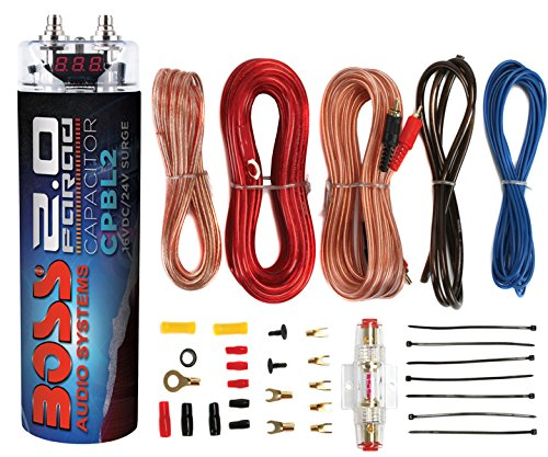 Boss CPBL2 2 Farad Car Digital Voltage Capacitor Power Audio Cap+8 Ga Amp (Capacitor Cap)