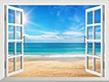 Wall26 - High Quality Removable Wall Sticker / Wall Mural - Beautiful Summer Seascape and the Beach | Creative Window View Home Decor / Wall Decor - 36