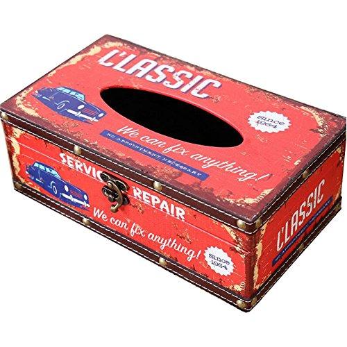 (Decorative Tissue Holder Retro Vintage Rustic Wood Tissue Cover Holder Box Facial Tissue Paper Dispenser Bath Kitchen Tissue Holder(Red Classic Car))