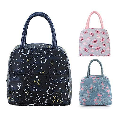 Insulated Lunch Bag Reusable Lunch Box Lunch Tote Waterproof Grocery Bag to School Office Work for Kids, Adults, Children,starry star ()