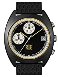ROUE CHR Two Chronograph Watch, 1970s Racing Style, 41.5mm Black PVD Sand Blasted Stainless Steel case, Silicone + Soft Leather Straps, Sapphire Crystal with Anti-Reflective Treatment Glass