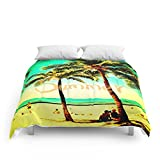 Society6 Green Yellow Vintage Palm Tree With Hawaii Summer Sea Beach Comforters Queen: 88'' x 88''