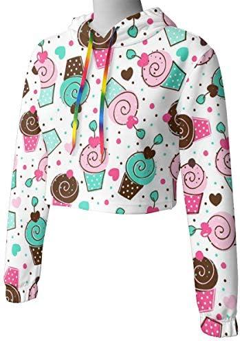 カップケーキコスチュームパーティークロップドパーカー女性の2019ファッション長袖パッチワーククロップトップスウェットシャツスポーツジムオフィススクール