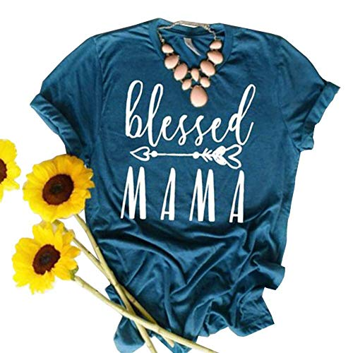 Spring Tee Graphic - JINTING Blessed Tee Shirt for Women Thanksgiving Tee Shirts Short Sleeve Letter Print Graphic Tee Shirt, Blue, Medium