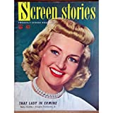 Screen Stories Magazine September 1948. COVER: Betty Grable. INSIDE PHOTOS: James Cagney with Eleanor Roosevelt, Larry Parks with Betty Garrett and Esther Williams. MOVIE ADS: 'Key Largo' with Humphrey Bogart and Lauren Bacall . All magazines shipped in a protective-archival sleeve.