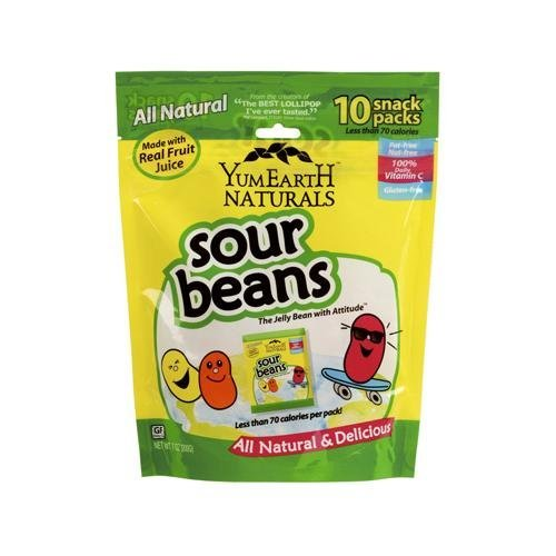 2 Packs of Yummy Earth Naturals Sour Jelly Beans Snack Packs - 10 Packs