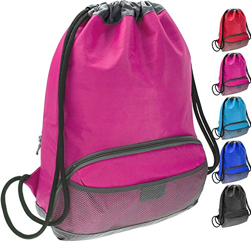 ButterFox Water Resistant Swim Gym Sports Dance Bag Drawstring Backpack Cinch Sack Sackpack for Kids, Men and Women, Waterproof Outer Shell Fabric (Pink with Handle)