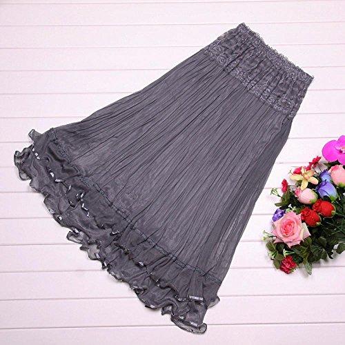 Vshop-2000 Women Spring Summer Pleated Long Dress Gauze Flared Skirt