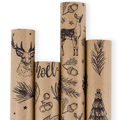 RUSPEPA Christmas Gift Wrapping Paper – Brown Kraft Paper with 3D Black Christmas Elements Xmas Designs Print Paper – 4 Roll – 30Inch x 10Feet Per Roll