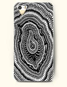 OOFIT Apple iPhone 5 5S Case Paisley Pattern ( Black and White Zentangle of Paisley and Circles )