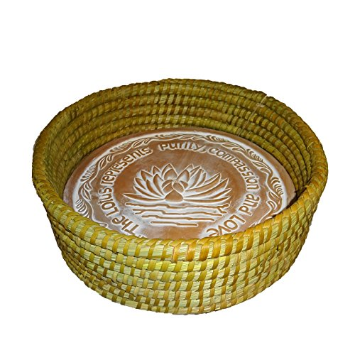 The Crabby Nook Warming Bread Basket with Lotus Warmer Tile Stone Hand Woven For Rolls Appetizers (12 Inch Natural) (Warming Stone Basket Bread)