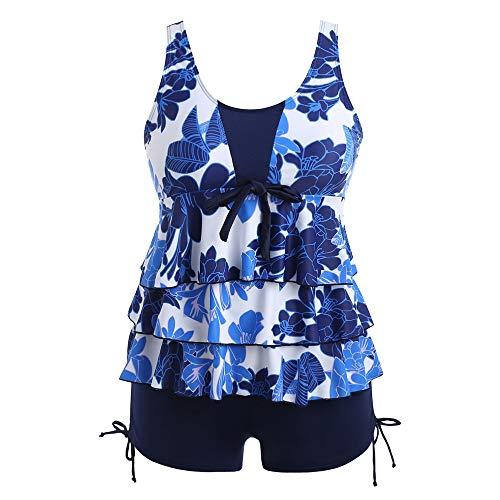 Leomodo Plus Size Floral Bowknot Embellished Tankini Swimwear Set for Women Cobalt Blue ()