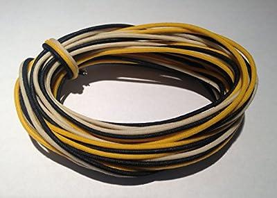 30 Feet (10-white/10-black/10-yellow) Gavitt Cloth-covered Pre-tinned 7-strand Pushback 22awg Vintage-style Guitar Wire by Gavitt