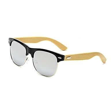 92434bca0b4df Clubmaster Style Sunglasses Retro Half Frame Retro Bamboo Arm with  Nosepiece Black Frame White Mercury Lens