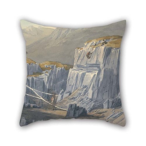 Oil Painting John Warwick Smith - The Slate Quarries At Bron Llwyd Throw Pillow Covers 16 X 16 Inches / 40 By 40 Cm For Seat Couples Boy Friend Shop - At Shops The Quarry