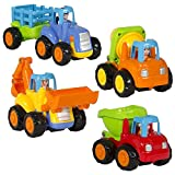Toddler Baby Toy Push and Go Friction Powered Car Toys Sets of 4 Tractor, Bulldozer,Cement Mixer, Truck Dumper Push Back Cartoon Play for Toddlers Kids 1 2 3 Years Old's Educational Toy Set