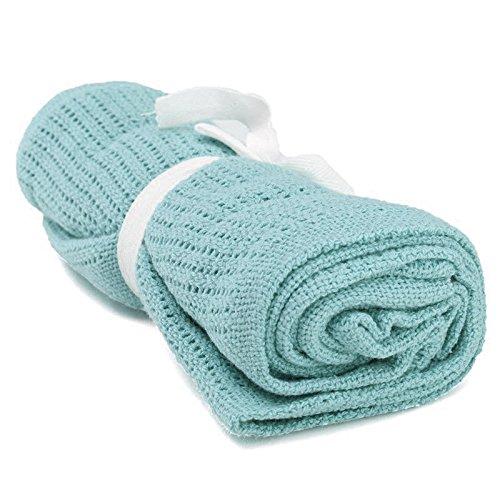 SODIAL(R) 100% Cotton Baby Infant Cellular Soft Blanket Pram Cot Bed Mosses Basket Crib Color:Light green