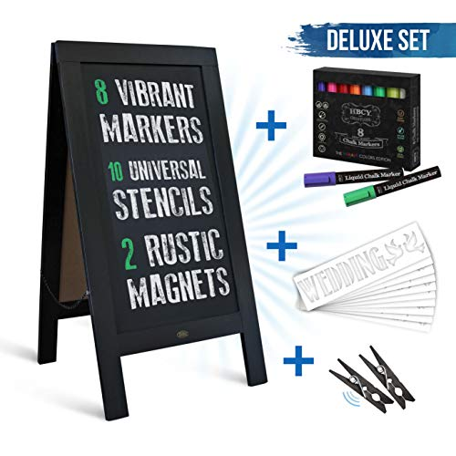 (Rustic Black A-Frame Chalkboard Deluxe Set / 8 Chalk Markers + 10 Stencils + 2 Magnets! Outdoor Sidewalk Chalkboard Sign/Large 40
