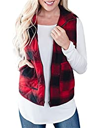 Womens Vest Plaid Jacket Winter Lightweight Quilted Casual Outerwear with Pocket