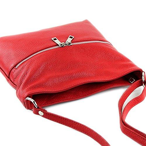 modamoda de - ital. Ledertasche Crossover Schultertasche Damen Umhängetasche Leder T144 Rot
