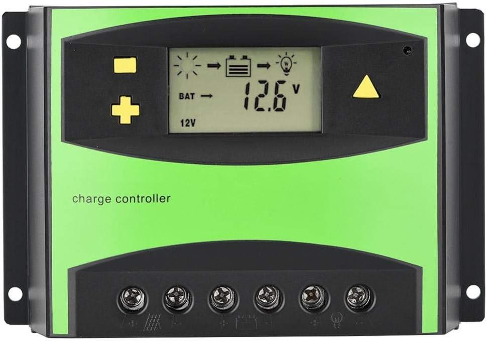 Garsent Controlador de Cargador Solar PWM Controlador de Cargador Solar Panel Solar Batería Regulador Inteligente con Puerto Dual USB Pantalla LCD 12V/24V(60A)