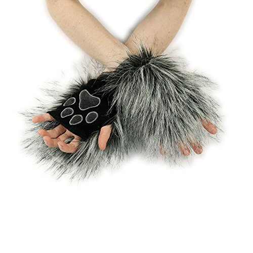 Realistic Wolf Costumes (Pawstar Wolf Fur Pawlets Furry Paw Fingerless Gloves - Gray)