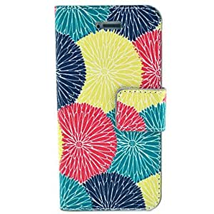 WQQ Sun Flower Colorful Pattern Hard Case with Card Slot and Matte PC Back Cover for iPhone4/4S