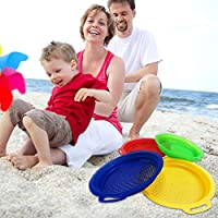4Pcs Stop Sand Sifter Sieves Toy Children Beach Toys Sand Toy Set, Red Blue Yellow Green