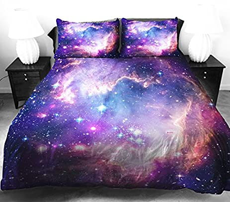 Amazon.com: Anlye Galaxy Quilt Cover Galaxy Duvet Cover Galaxy ... : purple quilt cover - Adamdwight.com