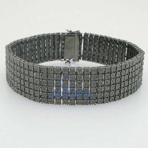 Designer Hip Hop Men's 6 Six Row Tennis Bracelet .925 Sterling Silver Black Rodium 1.35ct Diamond 9in Length B-1714BK