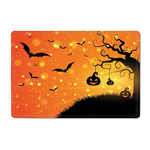 Halloween Yoga mat Magical Fantastic Evil Night Icons Swirled Branches Haunted Forest Hill Kitchen mat Orange Yellow Black 16