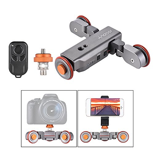 Andoer Track Dolly, Video Dolly Electric Track Slider with Wireless Remote Control 3 Speed Adjustable Chargable Mini Slider Skater for Canon Nikon Sony DSLR Camera iOS Android Smartphone from Andoer