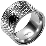 Emporio Armani EGS1094 Stainless Steel & Black Enamel Eagle Logo Ring Size 10