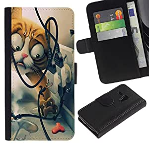 Ihec-Tech / Flip PU Cuero Cover Case para Samsung Galaxy S3 MINI NOT REGULAR! I8190 I8190N - Funny Funny Cat
