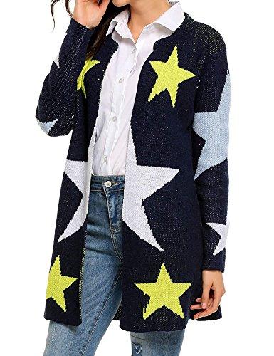 Outwear Donna Sweatshirt Aperto Cardigan Lungo Davanti Tasche Manica Stelle In Giubbotto Giacca Stampato Lunga Cappotto Tops Maglia Cappotti Maglione Apre Con Jumper BwAwEqxHv