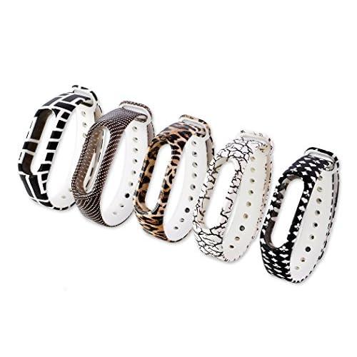 DSstyles Bague de rechange pour Xiaomi Mi Band 2 Wristband 5 pièces Smart Bracelet Fitness Tracker Strap - A
