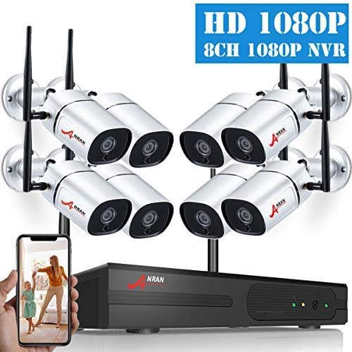 2019 Newest 1080P HD Wireless Security Camera System, ANRAN 8CH NVR Security Camera System 8pcs 2MP WiFi Surveillance IP Cameras Indoor Outdoor Video Security System Plug Play Night Vision NO HDD