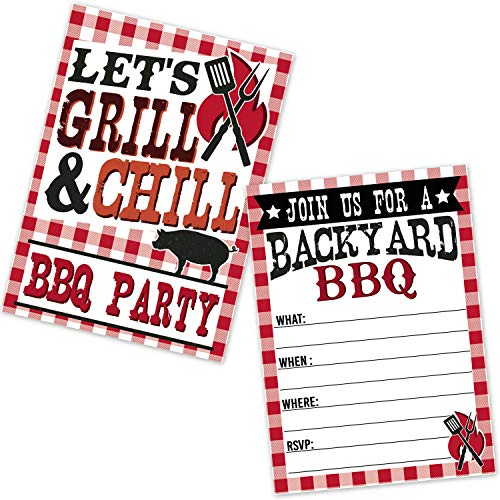 BBQ Invitations Summer Backyard Picnic Grill Cookout Invites (20 Count with Envelopes) - Pig Roast - Let's Grill and Chill -