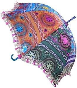 Sombrilla 65cm con bordados espejo colorida algodón Paraguas: Amazon.es: Jardín