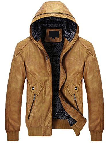 Chouyatou Men's Stylish Hooded Zip-Front Fleece Lined Moto Pu Leather Bomber Jackets (X-Large, Brown)